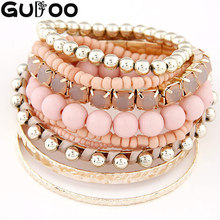 9pcs/set Designer Bohemian Candy Color Multilayer Beads Bracelet Bangles jewelry for women 2015 gift pulseras mujer wrist band(China (Mainland))