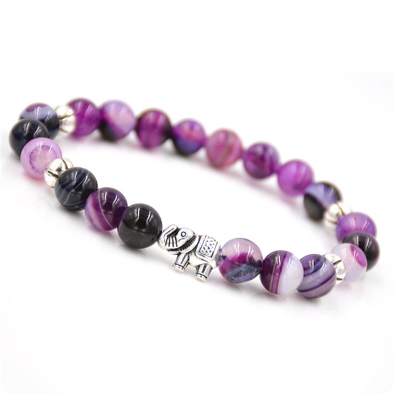 Newest Fashion Natural Stone Elephant Bracelet,8MM Purple Agate Stone Beads Women & Girl Elastic Chain Pulsera Chakras Bracelets(China (Mainland))