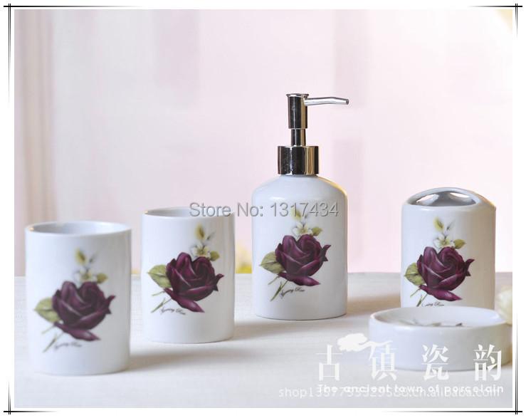Purple Rose 5 Pcs Ceramic Bathroom Set Bathroom Accessories For Bathroom Toothpaste Dispenser