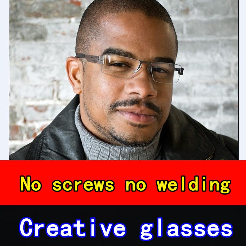 0.5mm stainless steel men glasses frame Germany original brand eyeglasses male Original case myopia reading oculos - ShenZhen MingLang Technology Co.,Ltd. store