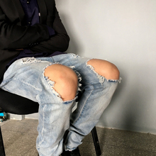 2016 new men pants  ankle destroyed skinny ripped jeans for men fear of god men jeans men pants fashion jeans size 30-36(China (Mainland))