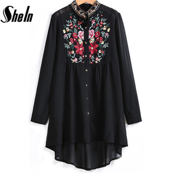 SheIn Women Tops Fahion Stand Collar Long Sleeve Floral Embroidered Dipped Hem Blusas European Brand Spring Black Vintage Blouse