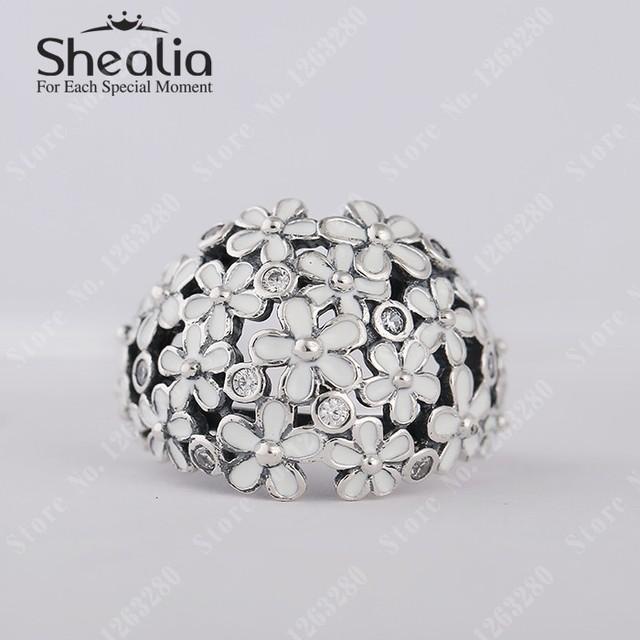 Весна маргаритка букет кольца с прозрачный камнями и белый эмаль цветы кольцо для женщины 925 чистое серебро помолвка кольца