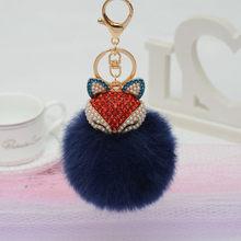 Encantos de Cristal Do Falso Fox Plush Toy Animal Keychain Heart-shaped Licorne Unicórnio Brinquedo Suffed Animais Fox Pingente de Chave Jóias(China)