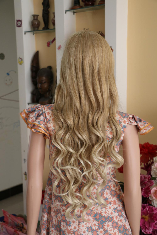 85cm Blonde Hair Heat Resistant Kanekalon Natural Hair Wigs Soft Vogue Long Wave Synthetic Hair Wigs Cosplay Wigs Fake Hair(China (Mainland))