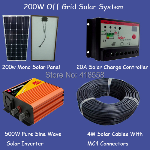 200W high efficency solar energy system solar system for home 200w off grid solar power system