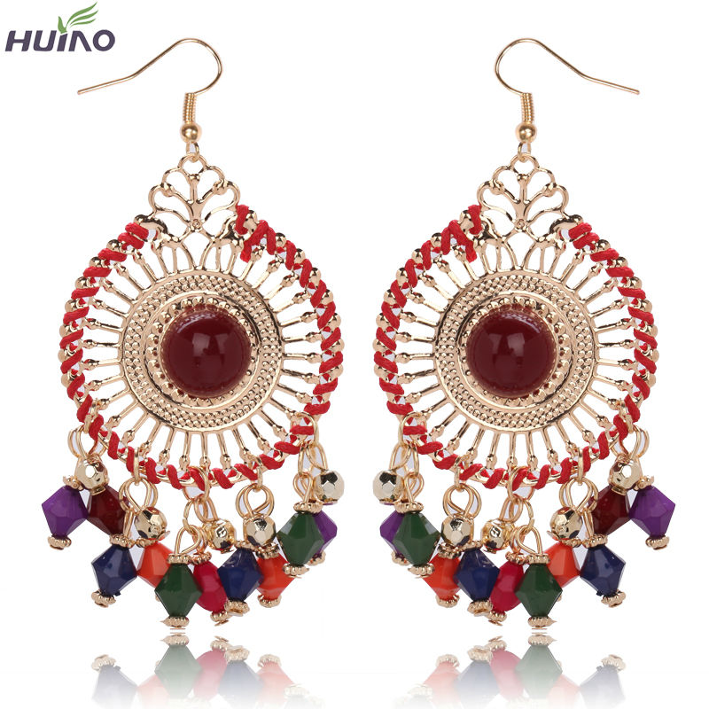 Beautiful Colorful Resin Beads Tassels Round Shape Alloy With Rope Drop Earrings For Women(China (Mainland))
