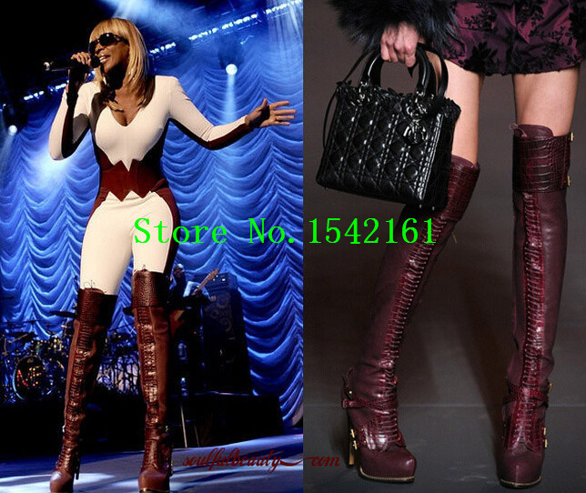 Guetre &amp; Alligator Lace-up Thigh-high Boots Platform High Heels Over Knee Women Boots Red Leather T-shown party Shoes Woman<br><br>Aliexpress