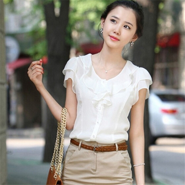 Summer New Arrive White Chiffon Female Blusas S-5XL Plus Size OL Women Blouses Slim Short Sleeve Shirts All-match Tops 30722(China (Mainland))