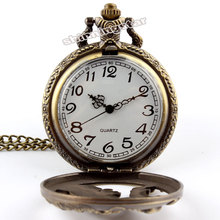 Antique Bronze Wolf Hollow Quartz Pocket Watch Necklace Pendant With Chain High Quality Mens Pocket Watch
