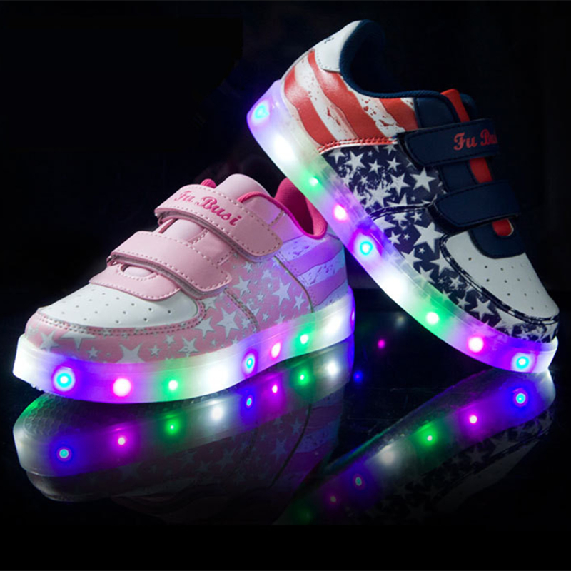 Boys girls Colorful glowing led kids shoes with lights up led luminous shoes a new simulation sole led shoes for children