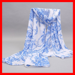 Chinese Blue and White Porcelain Printing Scarf Big Size in Voile Materials Colorful Pashmina Scarf(China (Mainland))