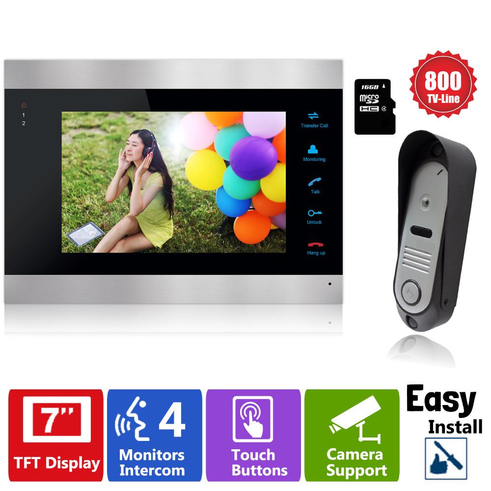 Гаджет  YSECU Video Door Phone Intercom System 7 inch Color LCD Monitor +16GB SD Card Video Record with IR Doorbell Camera None Безопасность и защита