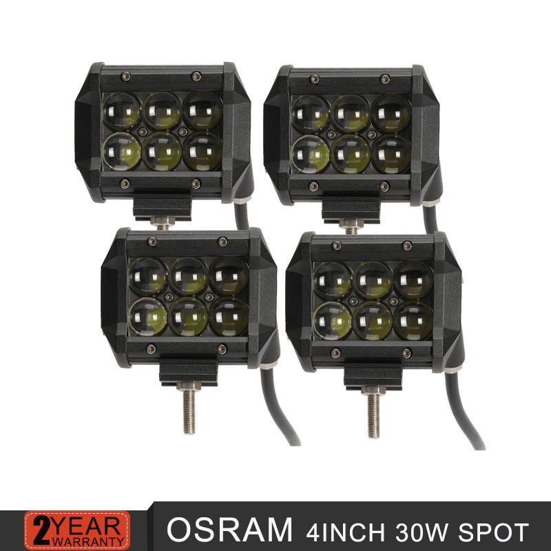 4pcs OSRAM 4inch 30W LED light bar offroad 4D spot beam car motorcycle driving headlights SUV ATV UTV 4x4 4WD truck trailer 12V(China (Mainland))