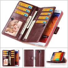 Note 3 / 4 Luxury Business Magnetic Clasp Leather Wallet Cover Case For Samsung Galaxy Note 3 Note 4 With Card Slot Phone Case(China (Mainland))