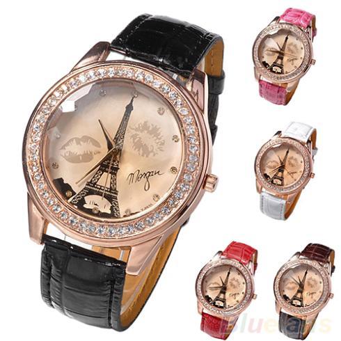 New Womens Girls Champagne Dial Lovers Lips Eiffel Tower Analog Quartz Wrist Watch Wristwatches Women Items 1OIJ<br><br>Aliexpress