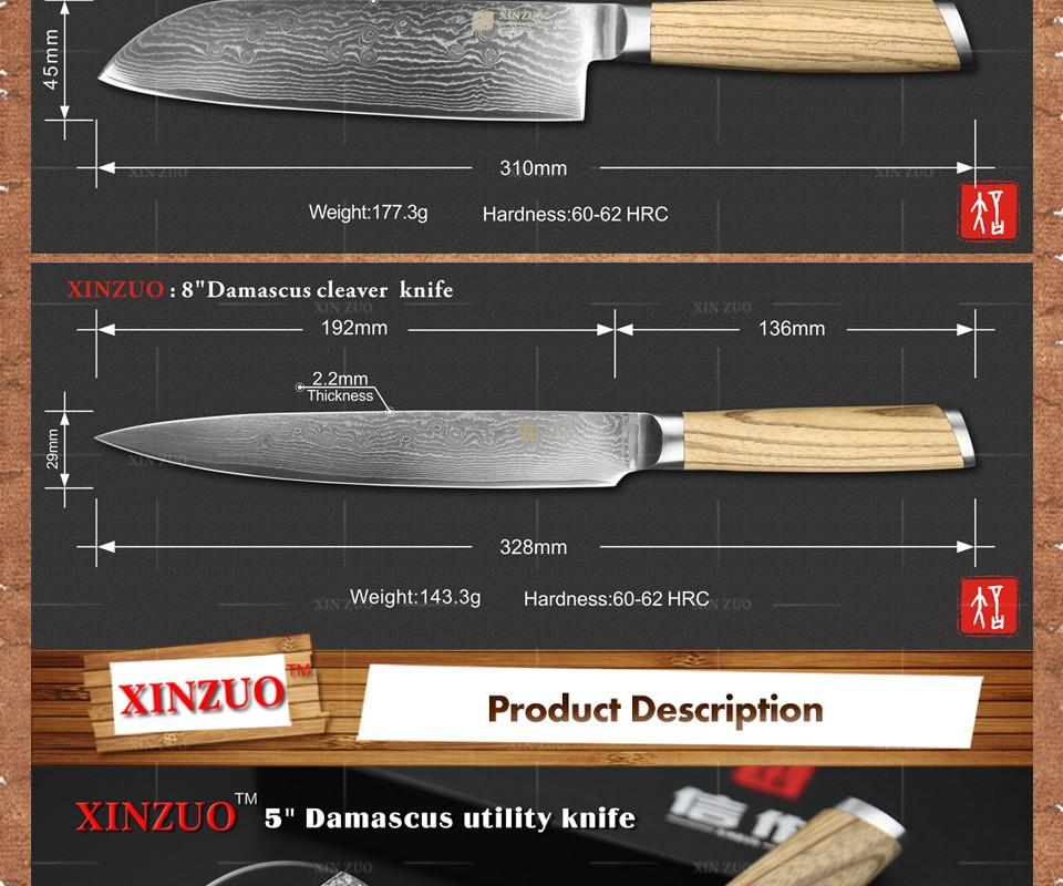 Buy XINZUO 3 pcs kitchen knife set Damascus kitchen knife kitchen tool Japanese chef cleaver knife logs wood handle free shipping cheap