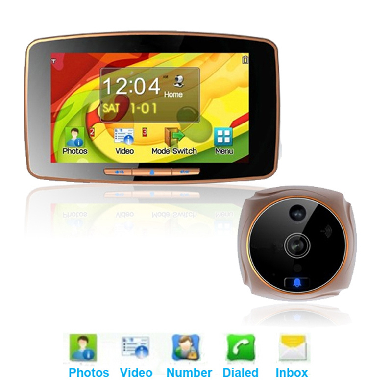"Гаджет  Free Shipping!!5"" LCD Touch Screen Doorbell Brand HD highlighted Door Cam Viewer Peephole Wide Lens+IR Motion Detect None Аппаратные средства"