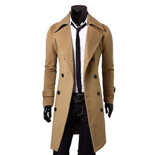 2017 New Arrival Men Winter Double Breasted Trench Coat Men Trench Coat Slim Fitness Coats Mens Long Coat M-3XL 3 Color (China (Mainland))