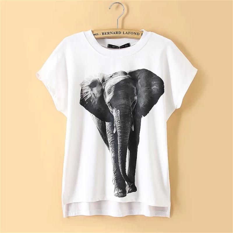 Women elephant printed chiffon knit patchwork irregularity for Elephant t shirt women s