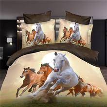 Modern Home 3D Bedding Set Queen Size Running War Horse Printed Wedding Decoration  4PC Bedspread(China (Mainland))