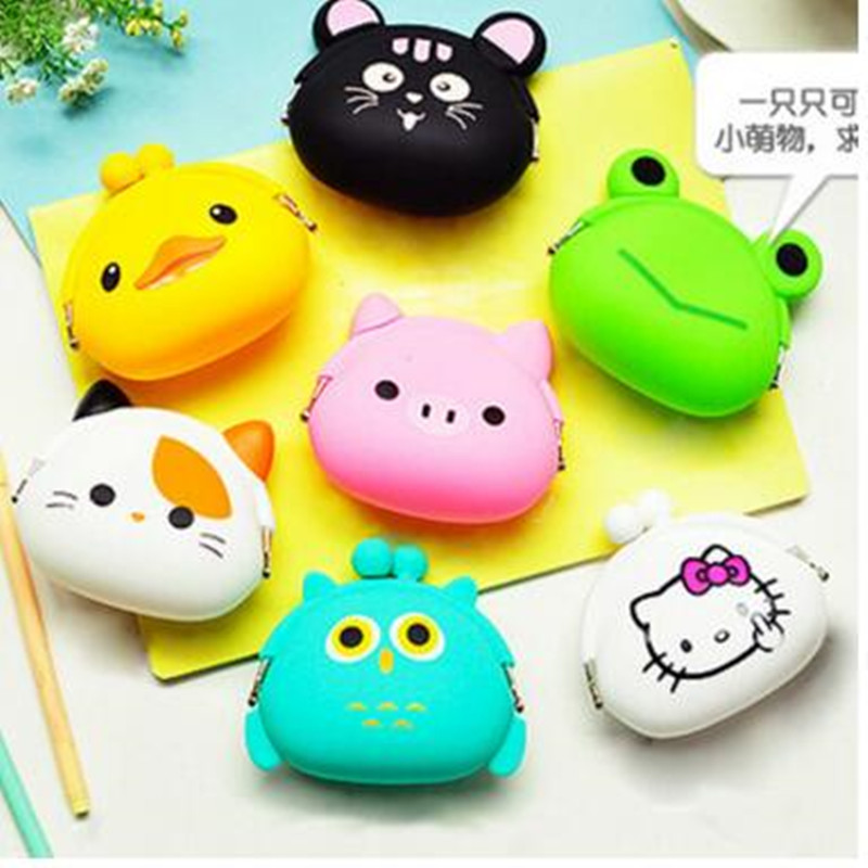 Hot Cute Cartoon Animal Wallets Rubber Purse Bag Silicone Round Coin Purse Wallet Card Rubber Key Phone Frog Design Bag Pouch(China (Mainland))