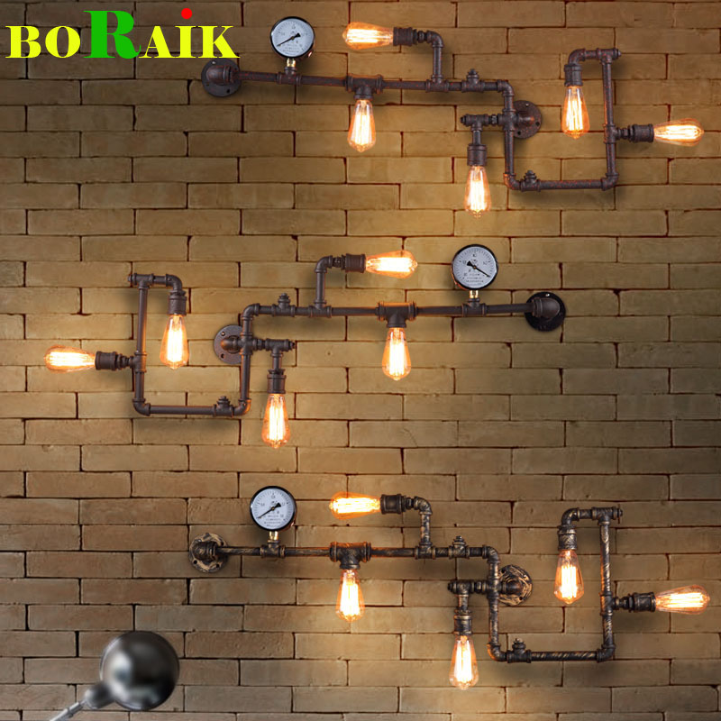 Loft Industrial Wall Lamps Antique Edison Wall lights with Bulbs E27 110V-220V Vintage Pipe Wall Lamp for Living Room Lighting(China (Mainland))