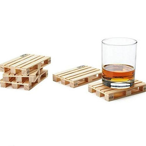 4pcs Rectangle Mini Wooden Pallet Coaster Set Whiskey Wine Glass Cup Mat Pad Hot Cold Drink Wood Table Mat Bar Tool(China (Mainland))