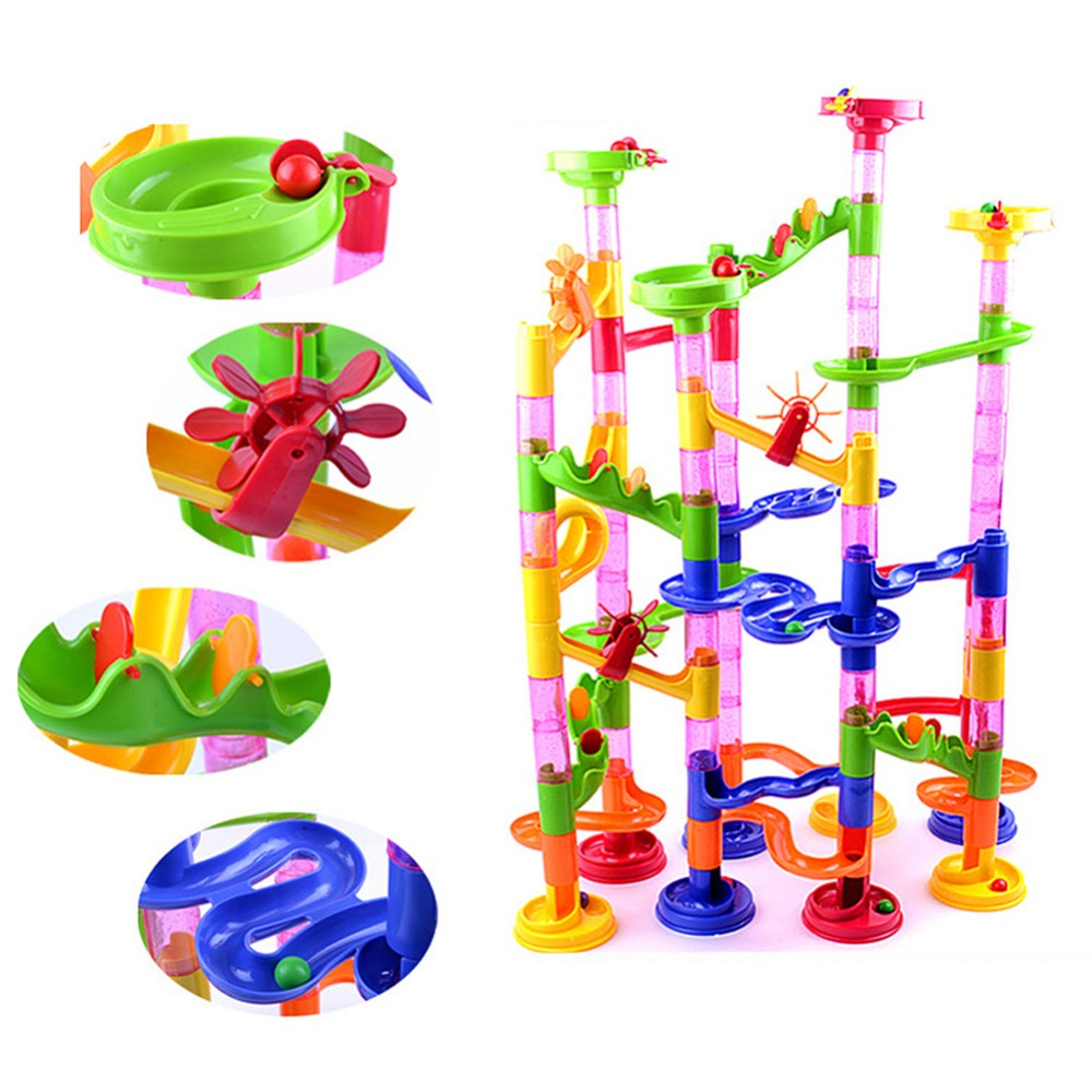 High Quality 105PCS DIY Construction Marble Race Run Maze Balls Track Building Blocks Children Gift Baby Kid's Toy Free Shipping(China (Mainland))