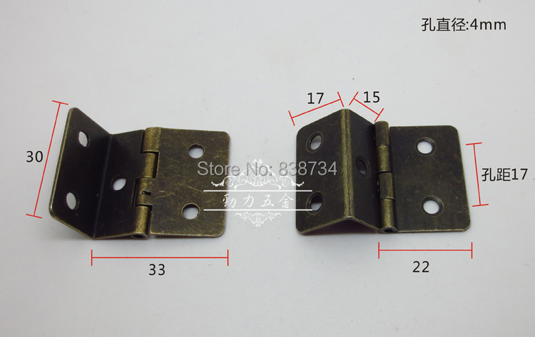 100pcs 30*33*1.0 mini /micro steel with bronzed folding gift box hinge<br><br>Aliexpress