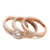 Top Quality Crystal 3 Round 18K Rose Gold Plated Ring Genuine  Crystals From Austria Full Sizes Wholesale ZYR059 ZYR060