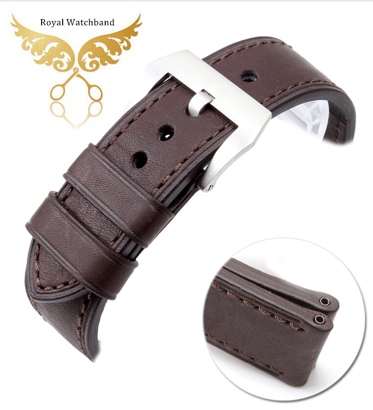 Soft! 24mm Dark Brown Genuine Leather Watch Band Strap Buckle For Brand