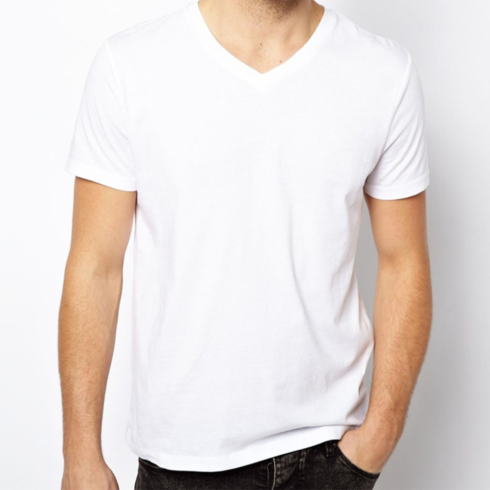 free shipping solid t shirts men blank t shirt v neck