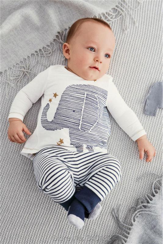 2015 autumn baby boy clothes carters baby clothing baby elephant Long sleeve Tops + Stripe Pants clothing set(China (Mainland))