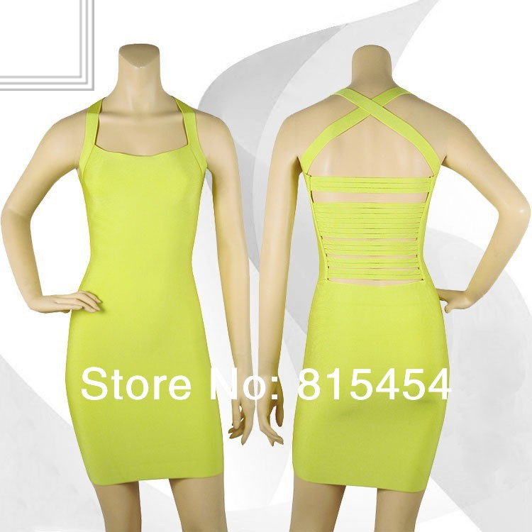 Chic Cut Out Bandage Dress Cross Criss Lime Yellow Good Quality Boutique Clothing Women(China (Mainland))