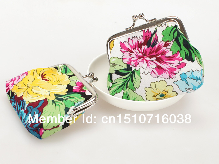 free shipping 30pcs mini cotton fabric flower printed coin bag with metal closure women wallets Coin Purses(China (Mainland))