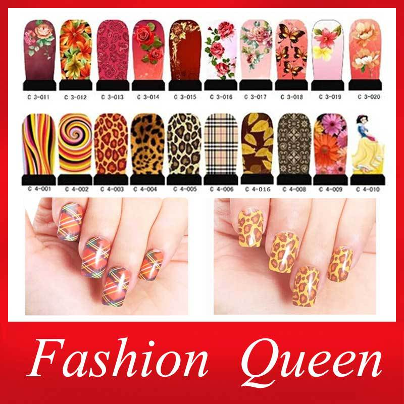 Water Transfer Nail Stickers,10sheets Hot Colorful Flowers Leopard Design Nail Tips Wraps Accessories,Nail Art Decoration Tools(China (Mainland))