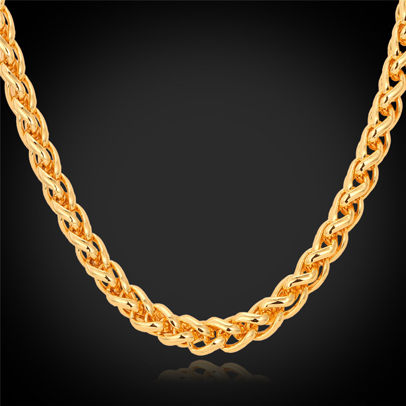 Chains Necklaces For Men 18K Real Gold Plated Jewelry 2015 Fashion Style New Cool Items Free Shipping High Quality Necklace N968(China (Mainland))