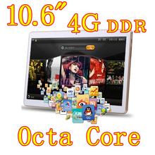10.6 дюймов 8 ядра Octa ядер 2560 X 1600 IPS DDR 4 ГБ оперативной памяти 32 ГБ 8.0MP 3 г две сим-карты Wcdma + GSM планшет пк таблетки шт Android4.4 7 9