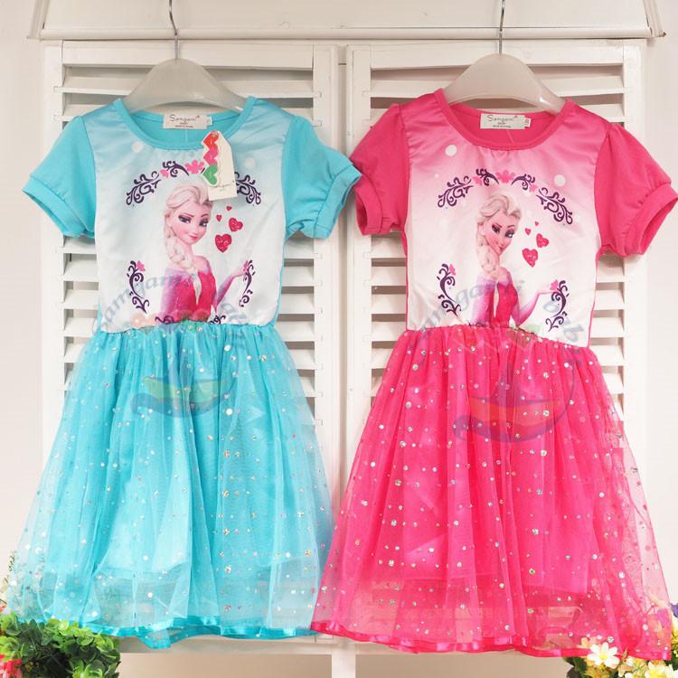 Summer baby girl short sleeve elsa dress high quality kids girls princess dresses clothing girls fashion party dress elsa anna  <br><br>Aliexpress