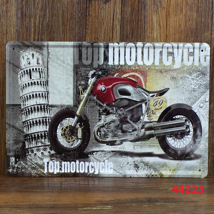 Top motorcycle! antique imitation plate tag iron painting decor wall of room(China (Mainland))