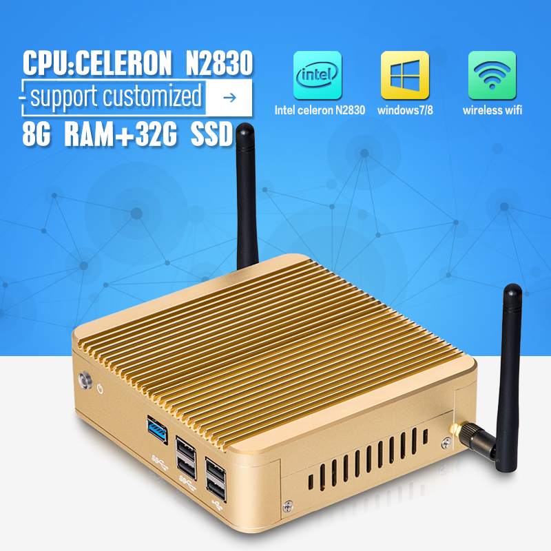 Hot sale Fanless Compouter X30 N2830 Mini PC Windows 7 Vensmile W10 mini cpu 8G RAM 32G SSD With VGA/HDMI 1* Lan  <br><br>Aliexpress