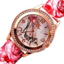 NEW Hot Sale Flower Printed Watch Women New Brand Xinhao Wristwatches Ladies Leather Strap Fashion Casual Watch Analog Quartz