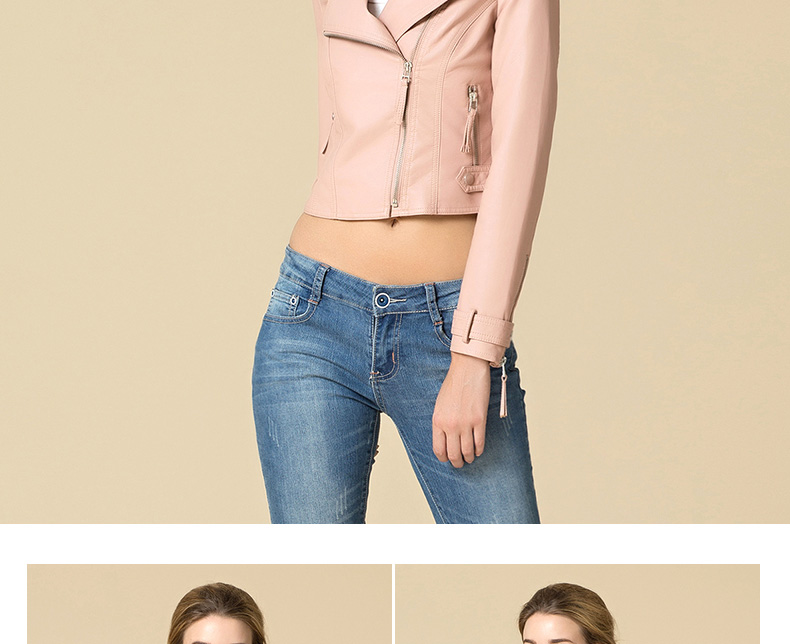 LIENZY Winter Autumn Casual Women Pink PU Jacket Coat Long Sleeve Slim Bodycon Crop Suede Motercycle Biker Jacket