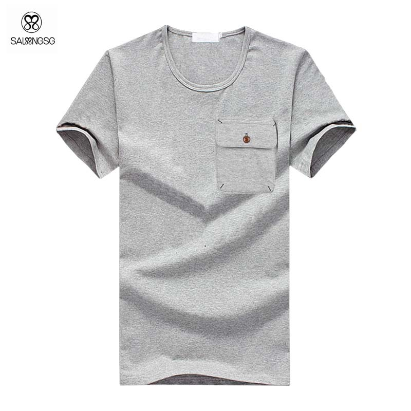 Plus Size T Shirt Men Summer Style Tshirts Mens Tops With Pocket Solid Color Men T Shirt Short Sleeve Sport Tees For Male Camisa(China (Mainland))