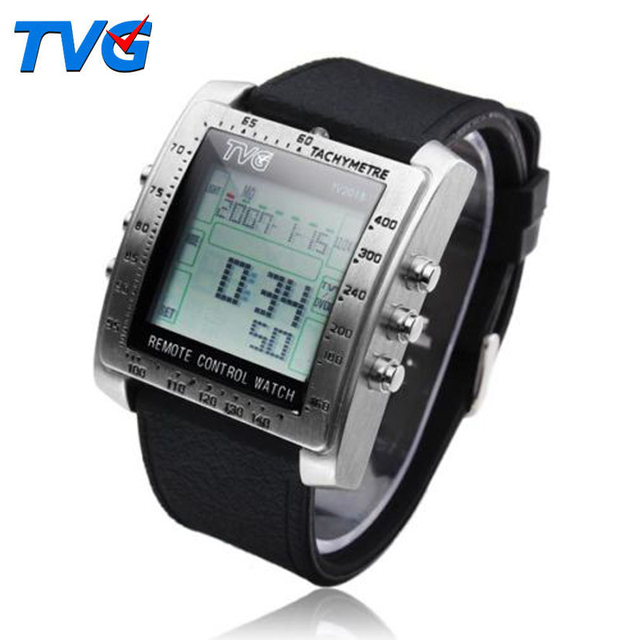 Новый прямоугольник твг пульт дистанционного управления тв DVD пульт дистанционного мужчин и дамы стали каучуковый ремешок спортивные наручные часы мужской часы relogio