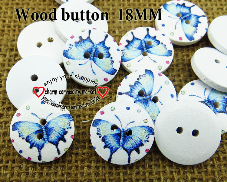 wholesale (200pcs/lot) butterfly wooden buttons for baby hat 18MM MCB-741(China (Mainland))