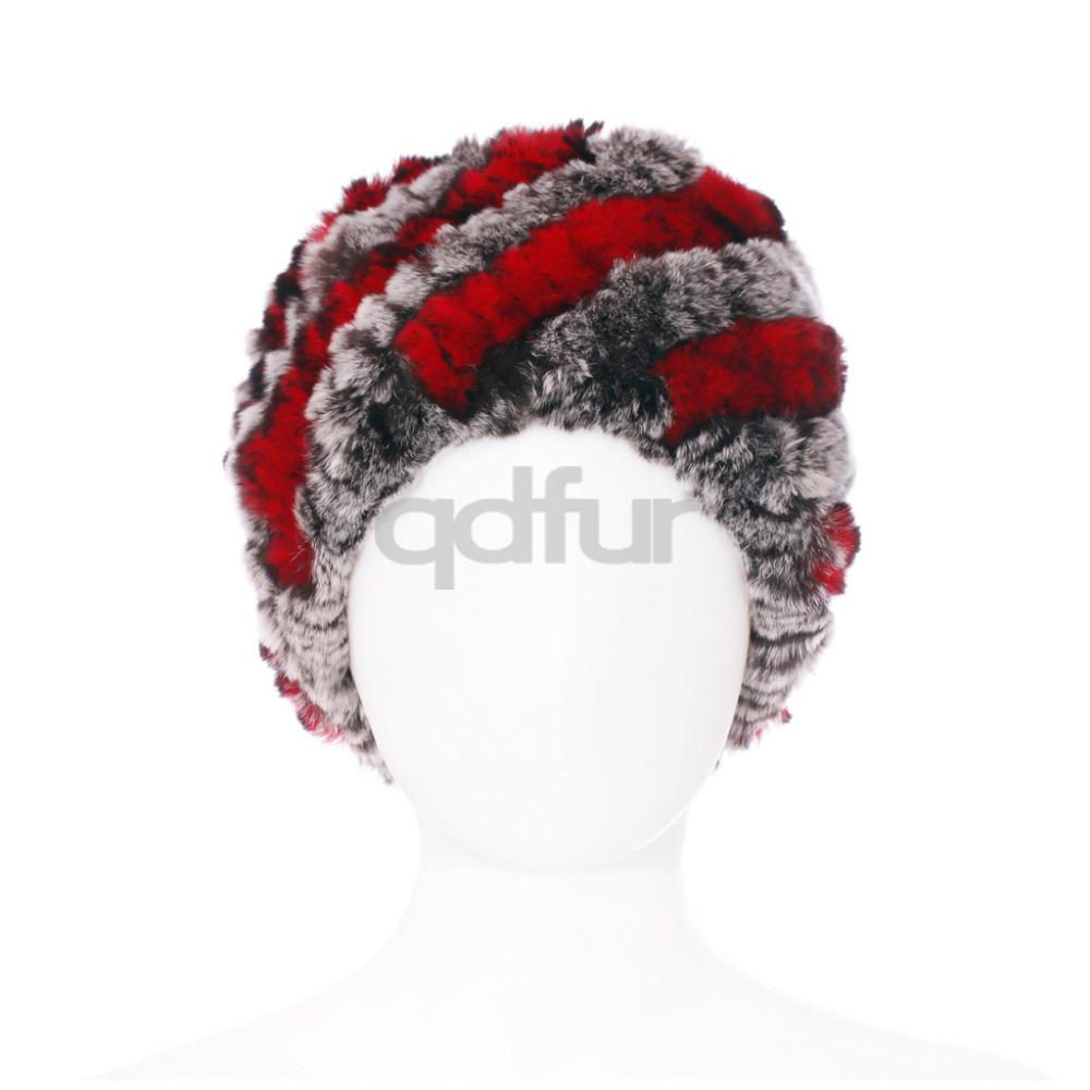 Autumn Ladies' Genuine Knitted Rex Rabbit Fur Hats Caps Winter Women Fur Beanies Female Headgear QD30454(China (Mainland))