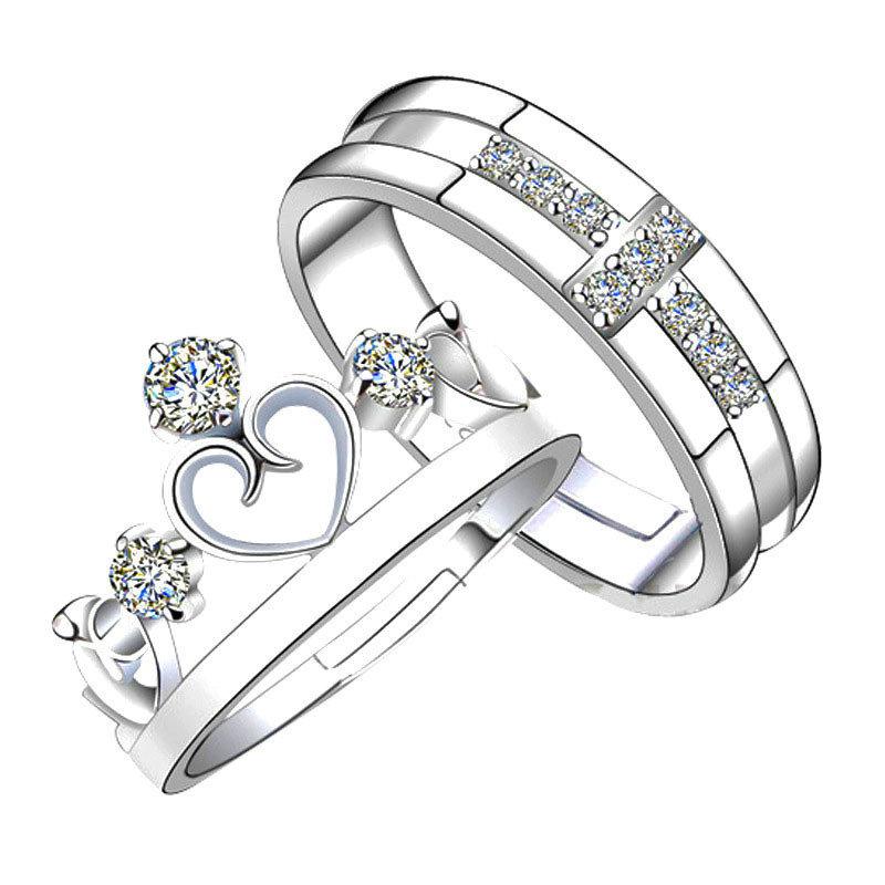 prince princess lover silver rings wedding band his