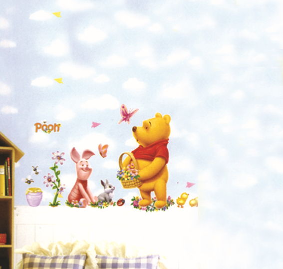 New Fashion Decoration Combinative Sticking Paper Winnie the Pooh Wall Sticker Cartoon Home Decor for Wall Cute Mural Adhesvie(China (Mainland))